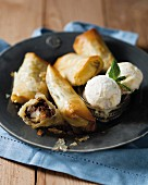 Sweet spring rolls with chocolate and pears