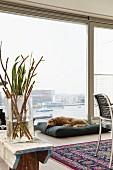 Zweige in Glasvase auf Holzbank, im Hintergrund Hund auf Bodenkissen vor raumhohem Fenster mit Aussicht