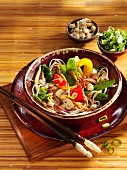 Buckwheat noodles with hoisin sauce and summer vegetables (Asia)