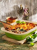 Three cheese lasagne with spinach