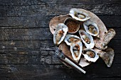 Grilled oysters (seen from above)