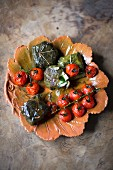 Stuffed, grilled vine leaves and cherry tomatoes