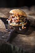 Grilled pulled pork burger with papaya-mole