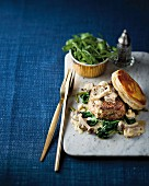 Philip steak with creamy mushrooms and a puff pastry