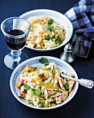 Tagliatelle with chicken, Pancetta and pine nuts