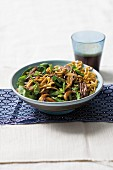 Warm noodle salad with beef