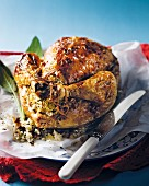 Grilled chicken stuffed with rice