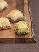 Baklava on a wooden board (close-up)