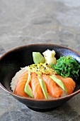 Salmon sashimi with takuan