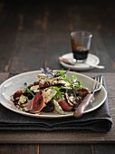 Blue cheese salad with ham