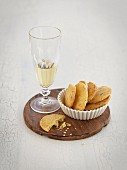 Cheese biscuits and a glass of champagne