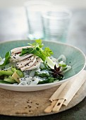 Rice noodles with chicken and spring onions (Asia)