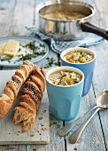 Chicken soup and puff pastry sticks