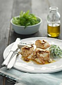 Monkfish medallions with garlic