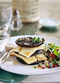 Fried giant mushrooms and haloumi