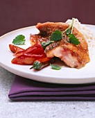 Fried sole with chilli peppers and rice