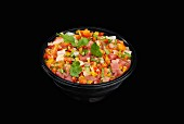 Marinated chirashi in a black bowl
