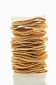 A stack of corn tostadas (fried tortillas)