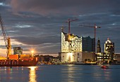 Hamburg: a view of the Elbphilharmonie, St. Michael's Church and the HafenCity