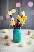 Fruit magic wands with pineapple stars, marshmallows, blueberries and raspberries