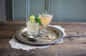 Cucumber lemonade and gin & tonic with grapefruit and rosemary