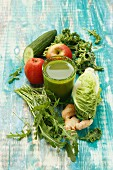 A vegetable smoothies with apple and ginger