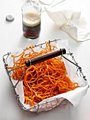 Sweet potato straw in a frying basket