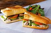 Turkey, avocado, tomato and pesto sandwiches