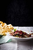 Lentil and rice pilau with yoghurt and pomegranate seeds