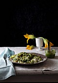Macaroni with rocket pesto