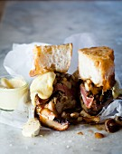 Toast with minute steak, mushrooms and Cheddar cheese