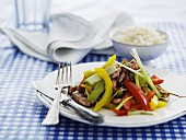 Beef with a pepper medley and rice