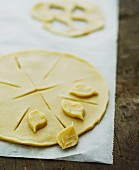 Pie pastry with pastry leaves