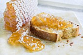 Honeycomb on white bread