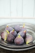 Fresh figs on a pewter plate