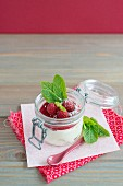 White chocolate mousse with raspberries and mint