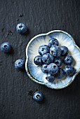 Blueberries on a small ceramic plate