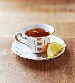 Earl Grey tea in an antique porcelain cup