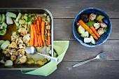 Braised saffron vegetables (cauliflower, carrots, mushrooms, kohlrabi, celery)