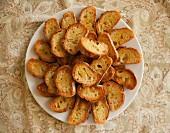 Plain crostini on a plate