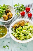 Marinated courgette pasta with vegetarian dumplings