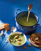 Leek and broccoli soup with Cheddar cheese