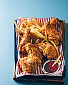 Southern fried chicken with fries