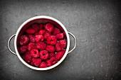 A pot of frozen raspberries