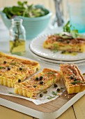 Salmon quiche with capers and dill