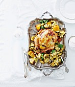 Roast chicken with effete glaze stuffed with ricotta and herbs