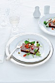 Beef terrine with a pepper relish for Christmas dinner