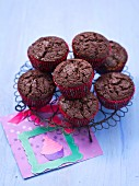 Chocolate muffins on a metal rack