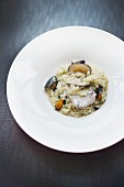 A rice dish with mussels and hake from the restaurant Narru in San Sebastián