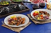 Festliches Buffet mit Fleisch & Gemüse
